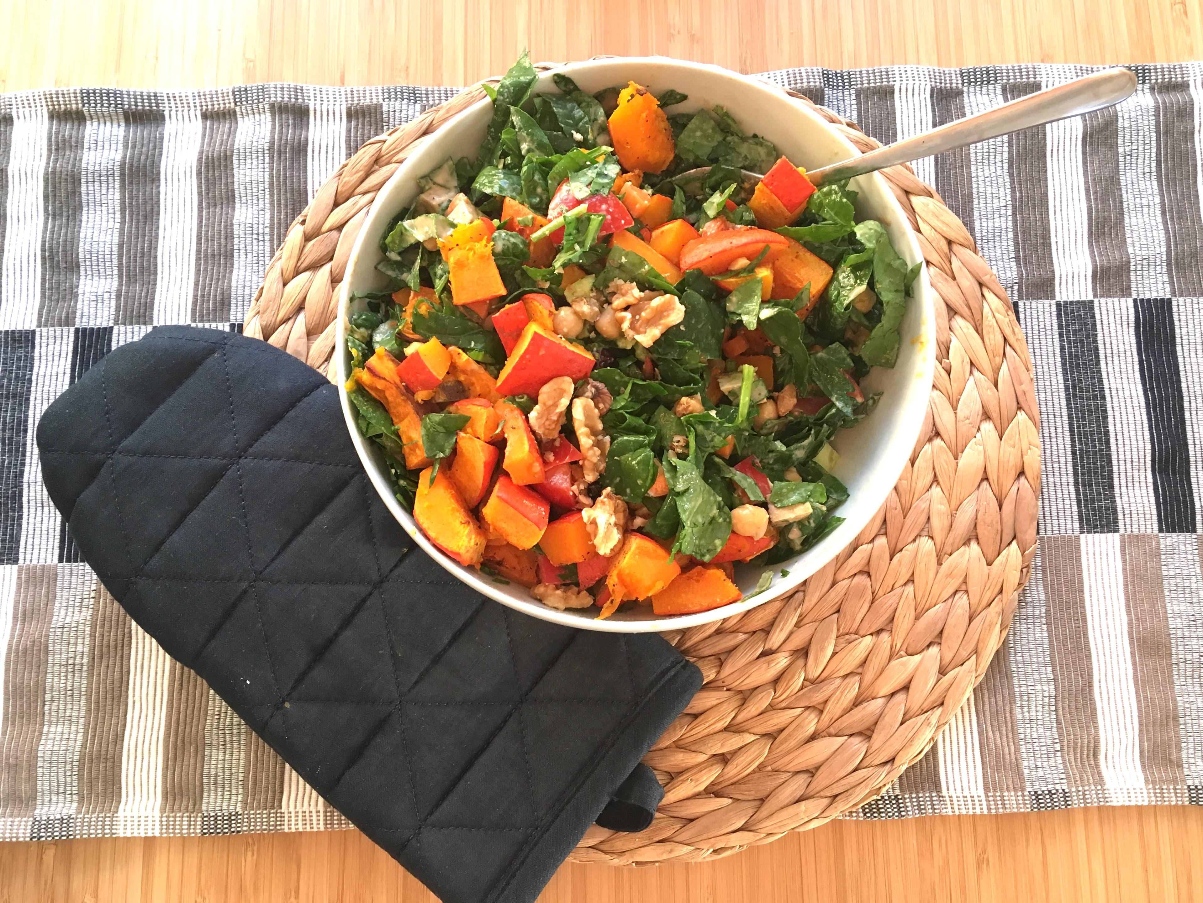 Spinat-Salat mit Kürbis